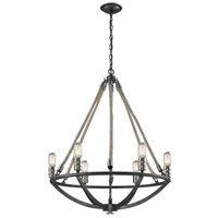 ELK 63057-6 Natural Rope 6 Light 25 inch Polished Nickel with Silvered Graphite Chandelier Ceiling Light