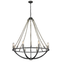 ELK 63058-8 Natural Rope 8 Light 35 inch Polished Nickel with Silvered Graphite Chandelier Ceiling Light