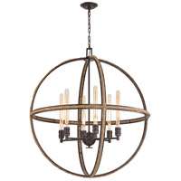 ELK 63066-6 Natural Rope 6 Light 34 inch Oil Rubbed Bronze Chandelier Ceiling Light