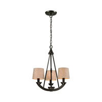 ELK Lighting Morrison 3 Light Chandelier in Oil Rubbed Bronze with Wheat Linen Shade 63073/3