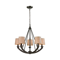 ELK Lighting Morrison 5 Light Chandelier in Oil Rubbed Bronze with Wheat Linen Shade 63074/5