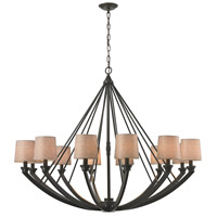 ELK Lighting Morrison 12 Light Chandelier in Oil Rubbed Bronze with Wheat Linen Shade 63075/12