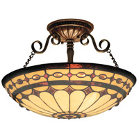Diamond Ring 3 Light 16 inch Burnished Copper Semi Flush Mount Ceiling Light