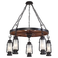 ELK 65007-5 Stagecoach 5 Light 45 inch Matte Black Chandelier Ceiling Light