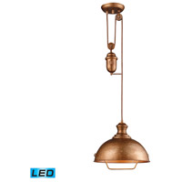 Farmhouse LED 14 inch Bellwether Copper Pendant Ceiling Light