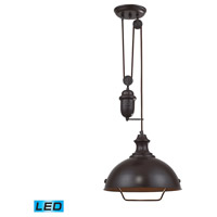 Farmhouse LED 14 inch Oiled Bronze Pendant Ceiling Light