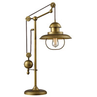ELK 65100-1 Farmhouse 32 inch 100 watt Antique Brass Table Lamp Portable Light