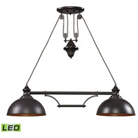 Farmhouse LED 44 inch Oiled Bronze Billiard/Island Ceiling Light