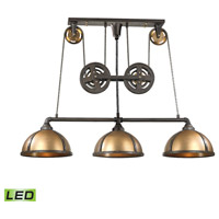 ELK 65152/3-LED Torque LED 62 inch Vintage Brass with Vintage Rust Island Light Ceiling Light
