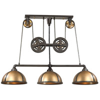 ELK 65152/3 Torque 3 Light 62 inch Vintage Brass with Vintage Rust Island Light Ceiling Light in Standard