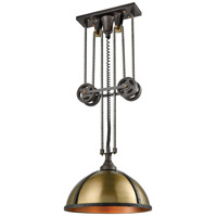 Torque 3 Light 20 inch Vintage Rust and Aged Brass Chandelier Ceiling Light