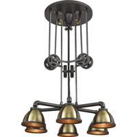 ELK 65154/6 Torque 6 Light 36 inch Vintage Rust with Vintage Brass Chandelier Ceiling Light