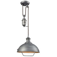 ELK 65161-1 Farmhouse 1 Light 14 inch Weathered Zinc Pendant Ceiling Light, Pulldown