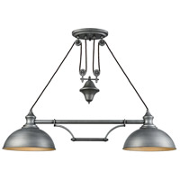Farmhouse 2 Light 44 inch Weathered Zinc Island Light Ceiling Light, Pulldown