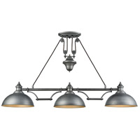 ELK 65163-3 Farmhouse 3 Light 56 inch Weathered Zinc Island Light Ceiling Light, Pulldown photo thumbnail
