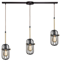 ELK 65216/3L Binghamton 3 Light 36 inch Oil Rubbed Bronze with Satin Brass Mini Pendant Ceiling Light in Linear with Recessed Adapter, Linear