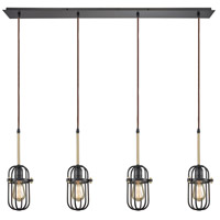 Binghamton 4 Light 46 inch Oil Rubbed Bronze and Satin Brass Pendant Ceiling Light, Linear Pan