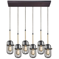 ELK 65216/6RC Binghamton 6 Light 30 inch Oil Rubbed Bronze with Satin Brass Pendant Ceiling Light in Rectangular Canopy