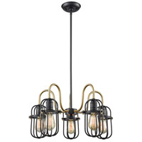 ELK 65217/5 Binghamton 5 Light 22 inch Oil Rubbed Bronze and Satin Brass Chandelier Ceiling Light