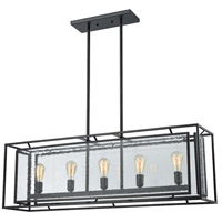 ELK 65262/5 Eastgate 5 Light 43 inch Textured Black Chandelier Ceiling Light