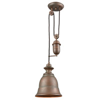 ELK 65270-1 Farmhouse 1 Light 8 inch Tarnished Brass Mini Pendant Ceiling Light Pulldown