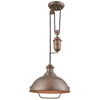 ELK 65271-1 Farmhouse 1 Light 14 inch Tarnished Brass Pendant Ceiling Light, Pulldown
