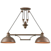 Farmhouse 2 Light 44 inch Tarnished Brass Island Light Ceiling Light, Pulldown