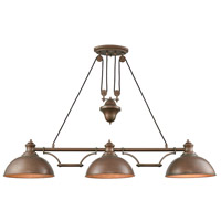 Farmhouse 3 Light 56 inch Tarnished Brass Island Light Ceiling Light, Pulldown