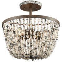 ELK 65304/3 Agate Stones 3 Light 16 inch Weathered Bronze Semi Flush Mount Ceiling Light