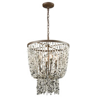 Agate Stones 4 Light 17 inch Weathered Bronze Chandelier Ceiling Light