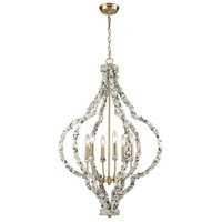 Agate Stones 6 Light 25 inch Satin Brass and Agate Stone Chandelier Ceiling Light
