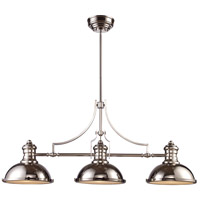 Elk 66115 3 Chadwick Light 47 Inch Polished Nickel Billiard Island Ceiling