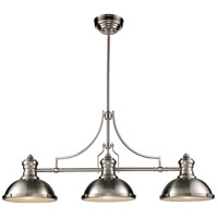 ELK 66125-3 Chadwick 3 Light 47 inch Satin Nickel Island Light Ceiling Light in Incandescent