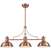 ELK 66145-3 Chadwick 3 Light 47 inch Antique Copper Billiard Light Ceiling Light in Incandescent