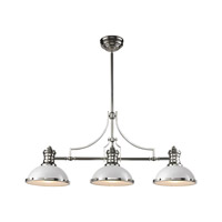 ELK Lighting Chadwick 3 Light Island in Gloss White with Polished Nickel 66155-3