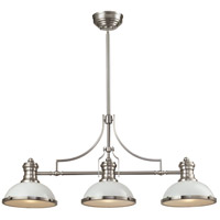 ELK Lighting Chadwick 3 Light Island in Gloss White with Satin Nickel 66165-3