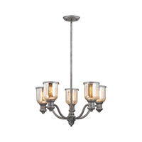 Brooksdale 5 Light 25 inch Weathered Zinc Chandelier Ceiling Light