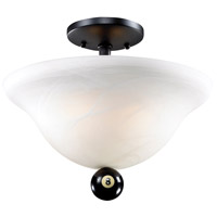 Billiards 2 Light 13 inch Matte Black Semi-Flush Mount Ceiling Light