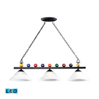 ELK Lighting Billiards 3 Light Pendant in Matte Black 66204-3-LED