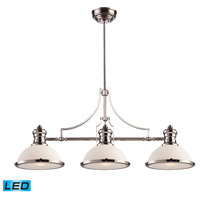 ELK Lighting Chadwick 3 Light Billiard/Island in Polished Nickel 66215-3-LED