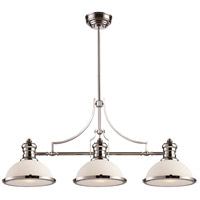 ELK 66215-3 Chadwick 3 Light 47 inch Polished Nickel Billiard Light Ceiling Light in Incandescent