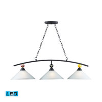 ELK Lighting Billiards 3 Light Pendant in Matte Black 66264-3-LED