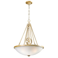 ELK 66275-3 Cog And Chain 3 Light 20 inch Bleached Wood Pendant Ceiling Light