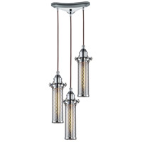 ELK 66315/3 Fulton 3 Light 10 inch Polished Chrome Pendant Ceiling Light in Triangular Canopy
