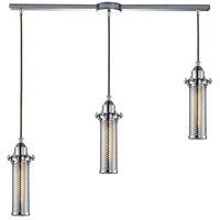 ELK 66315/3L Fulton 3 Light 36 inch Polished Chrome Linear Pendant Ceiling Light in Linear with Recessed Adapter