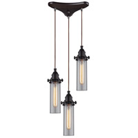 Fulton 3 Light 10 inch Oil Rubbed Bronze Pendant Ceiling Light in Triangular Canopy