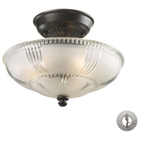Restoration 3 Light 12 inch Oiled Bronze Semi Flush Mount Ceiling Light in Recessed Adapter Kit