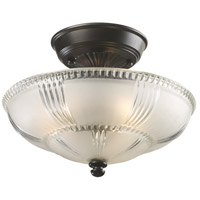 ELK 66335-3 Restoration 3 Light 12 inch Oiled Bronze Semi Flush Mount Ceiling Light in Triangular Canopy