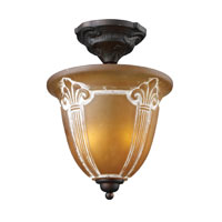 Restoration 2 Light 11 inch Aged Bronze Semi-Flush Mount Ceiling Light