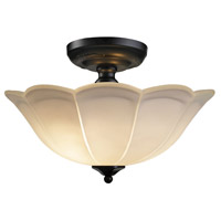 Signature 3 Light 15 inch Matte Black Semi Flush Ceiling Light